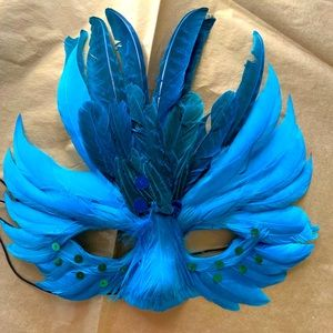 Lovely antique feather masquerade mask in bag